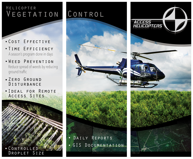3 Panel Standing Banner - Access Helicopters, Kelowna, BC