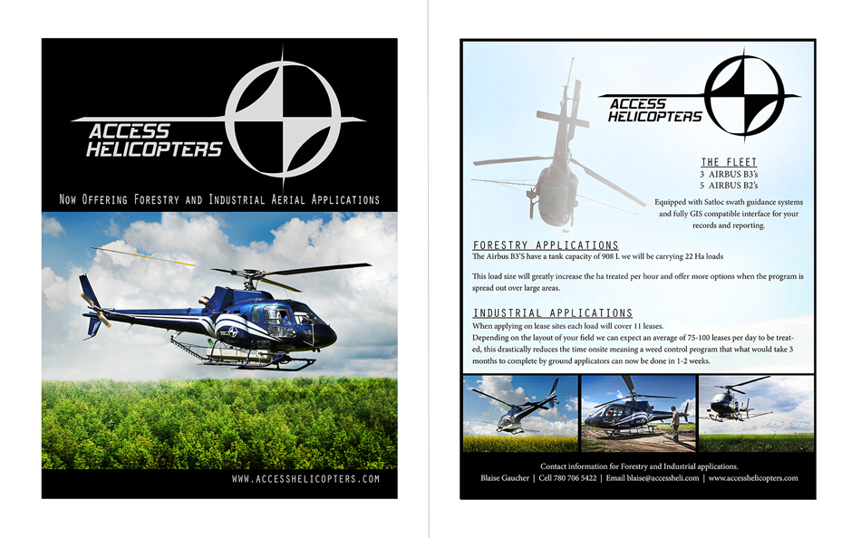 Double Sided Handouts - Access Helicopters, Kelowna, BC